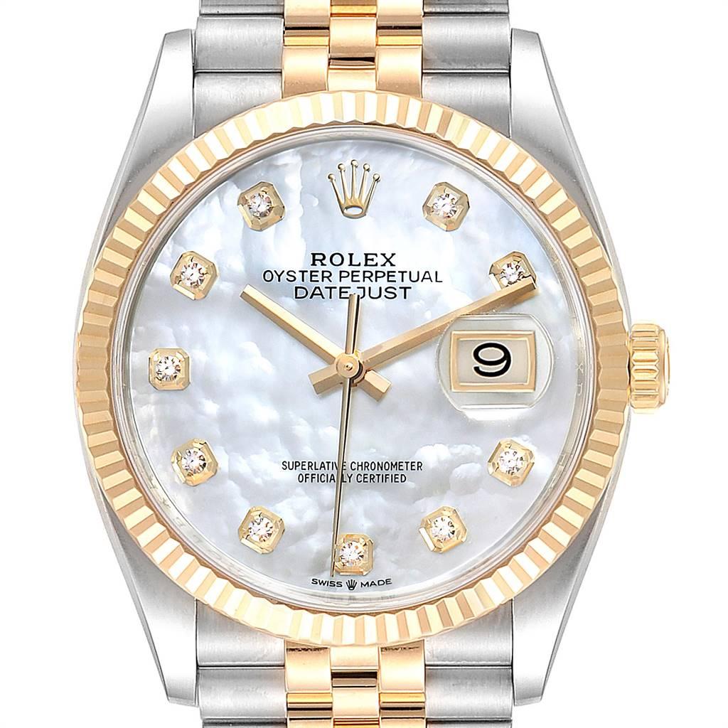 Rolex Datejust Steel Yellow Gold MOP Diamond Dial Mens Watch 126233 SwissWatchExpo