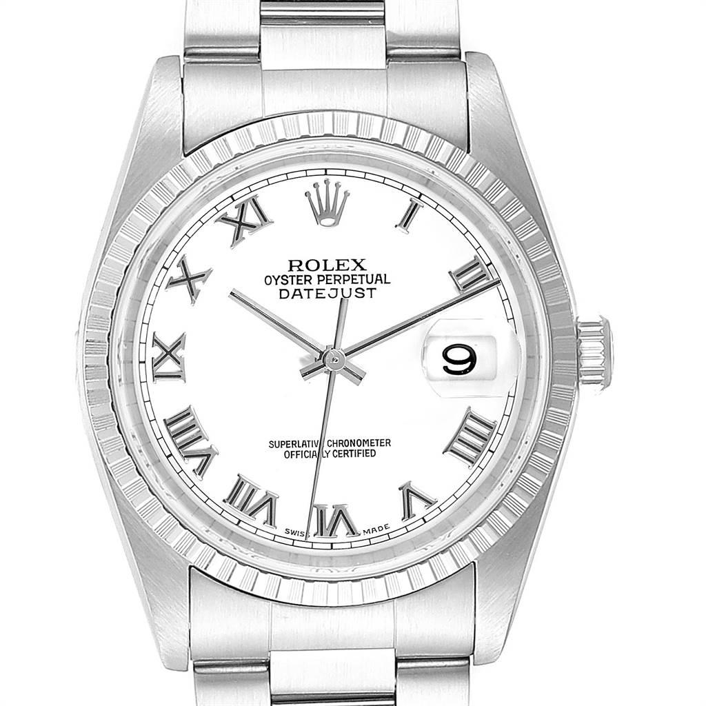 25939 Rolex Datejust 36 White Roman Dial Steel Mens Watch 16220 SwissWatchExpo
