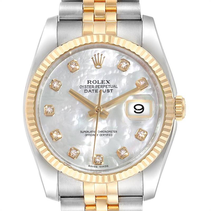 Rolex Datejust Steel Yellow Gold MOP Diamond Mens Watch 116233 Box Card SwissWatchExpo