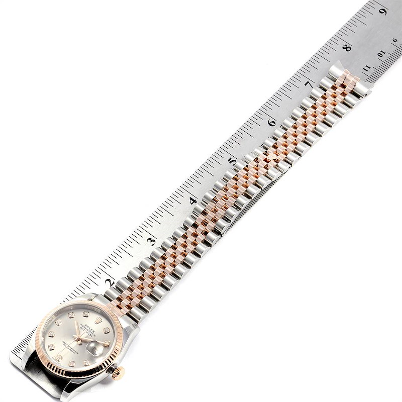 Rolex Datejust 36 Steel EveRose Gold Diamond Unisex Watch 116231 SwissWatchExpo
