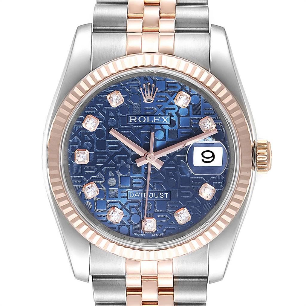 Rolex Datejust Steel Rose Gold Blue Diamond Dial Unisex Watch 116231 SwissWatchExpo