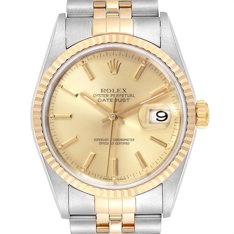 Rolex Datejust Steel Yellow Gold Fluted Bezel Mens Watch 16233 Box Papers SwissWatchExpo