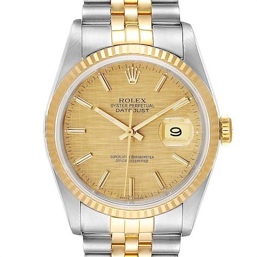 Photo of Rolex Datejust 36 Steel Yellow Gold Linen Dial Mens Watch 16233