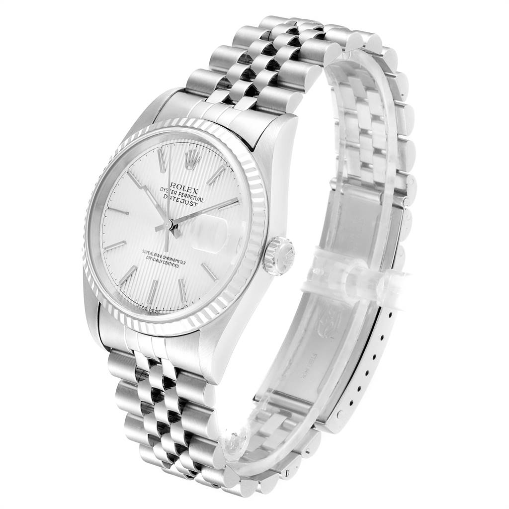 Rolex Datejust 36 Steel White Gold Tapestry Dial Mens Watch 16234 SwissWatchExpo