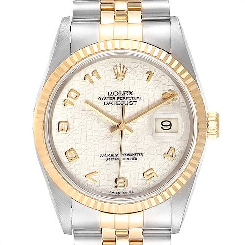 Photo of Rolex Datejust Steel Yellow Gold Anniversary Dial Mens Watch 16233