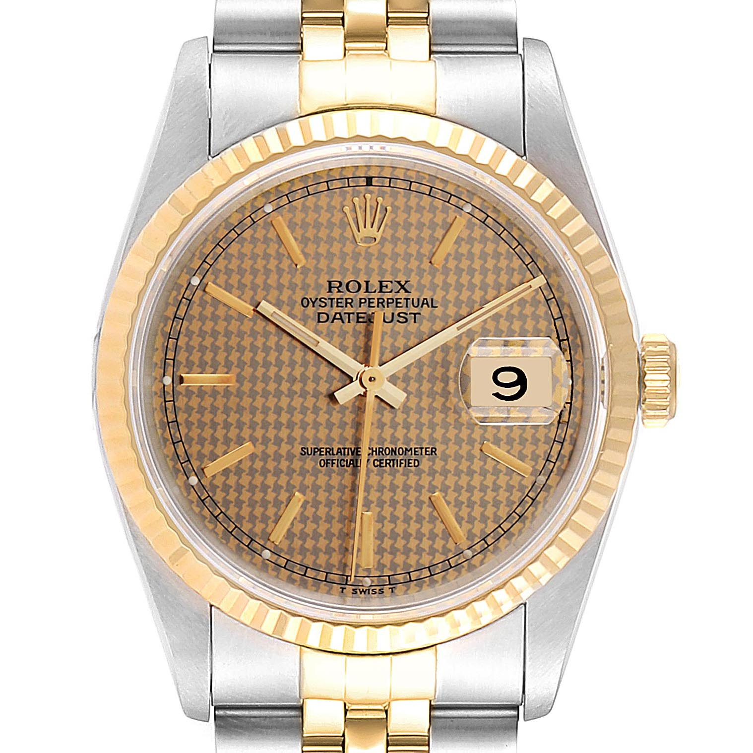Photo of Rolex Datejust HoundsTooth Dial Steel Yellow Gold Mens Watch 16233