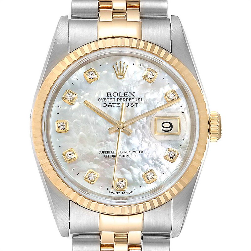 Rolex Datejust Steel Yellow Gold Mother of Pearl Diamond Mens Watch 16233 SwissWatchExpo