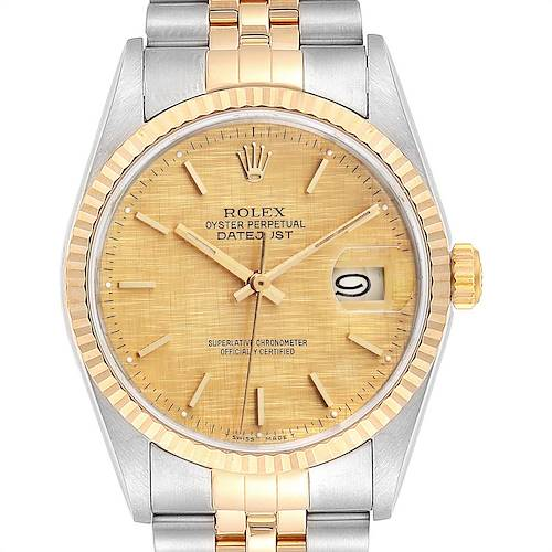 Photo of Rolex Datejust 36 Steel Yellow Gold Linen Dial Mens Watch 16233
