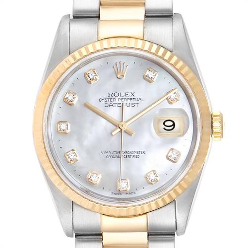Photo of Rolex Datejust Steel Yellow Gold Mother of Pearl Diamond Mens Watch 16233