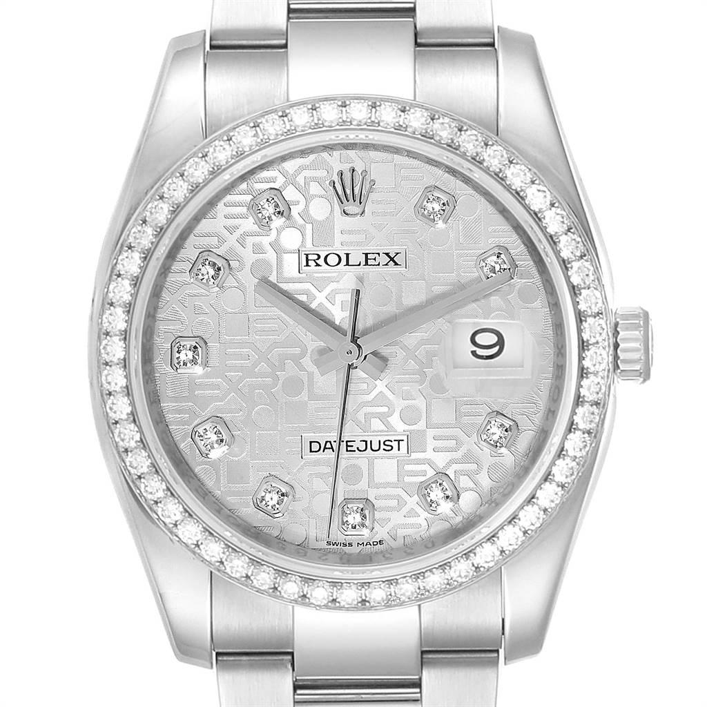 Photo of Rolex Datejust 36 Silver Anniversary Diamond Dial Bezel Unisex Watch 116244