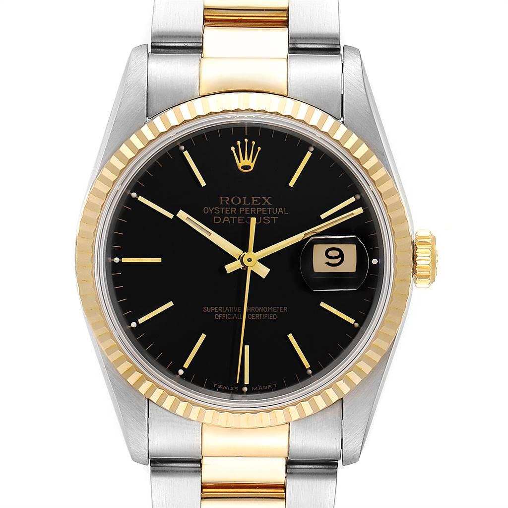 Rolex Datejust Steel Yellow Gold Black Dial Mens Watch 16233