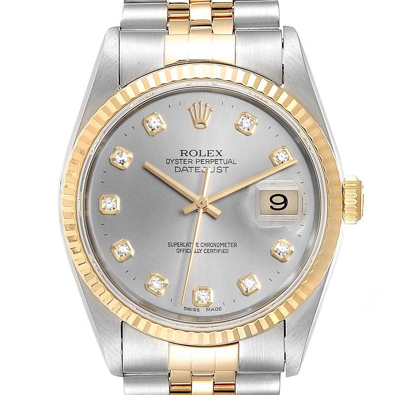 Rolex Datejust Steel Yellow Gold Slate Diamond Dial Mens Watch 16233 SwissWatchExpo