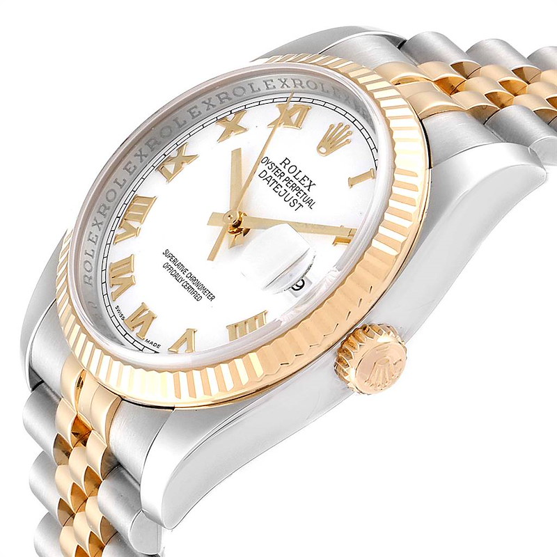 Rolex Datejust Steel Yellow Gold White Roman Dial Mens Watch 116233 SwissWatchExpo