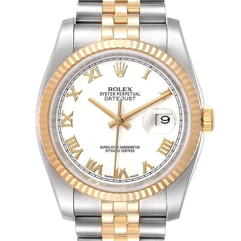 Rolex Datejust Steel Yellow Gold White Dial Mens Watch 116233 Box Card SwissWatchExpo