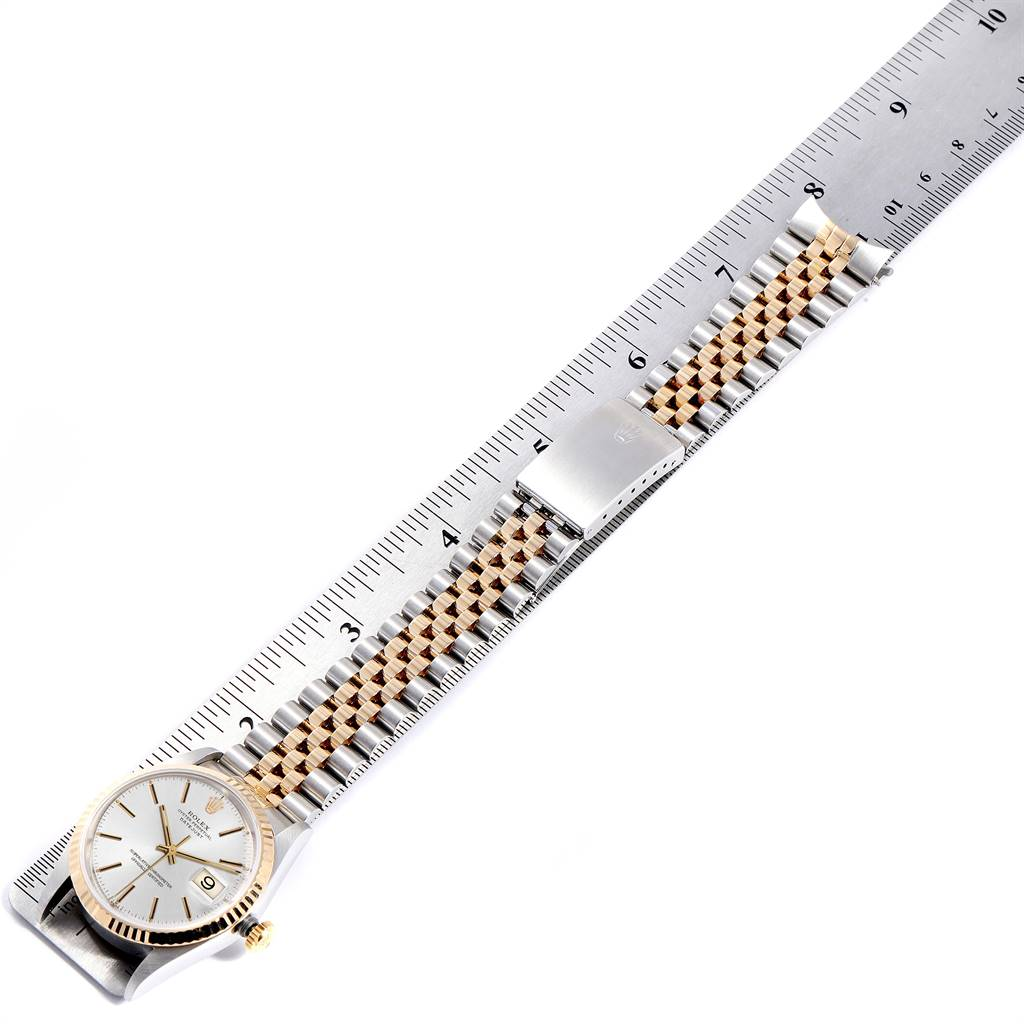 Rolex Datejust Steel Yellow Gold Silver Dial Mens Watch 16233 SwissWatchExpo