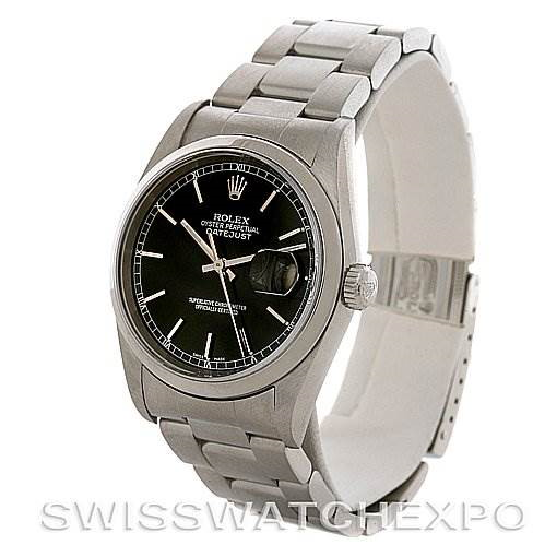 ROLEX  DATEJUST MENS BLACK STICK DIAL STEEL WATCH 16200 SwissWatchExpo
