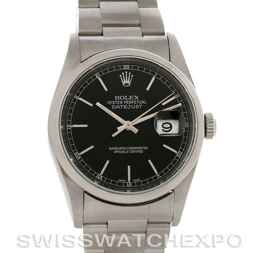 2836 ROLEX  DATEJUST MENS BLACK STICK DIAL STEEL WATCH 16200 SwissWatchExpo