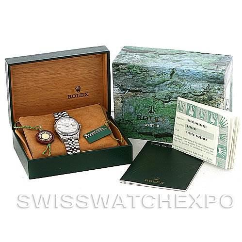 Mens Rolex Datejust Steel 18K White Gold Watch 16234 SwissWatchExpo