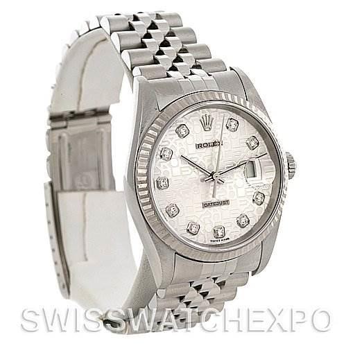 Mens Rolex Datejust Steel 18K White Gold Diamond 16234 SwissWatchExpo