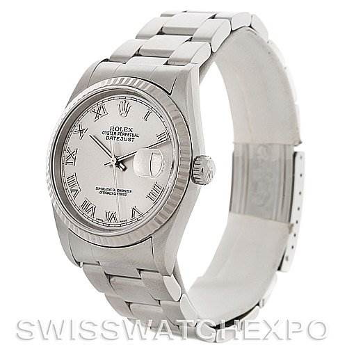 Mens Rolex Datejust Steel 18K White Gold Watch 16234 SwissWatchExpo
