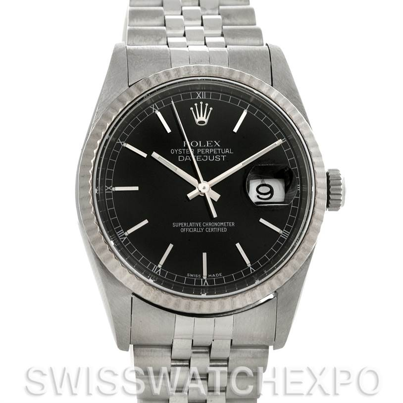 rolex datejust steel and 18k white gold mens 16234