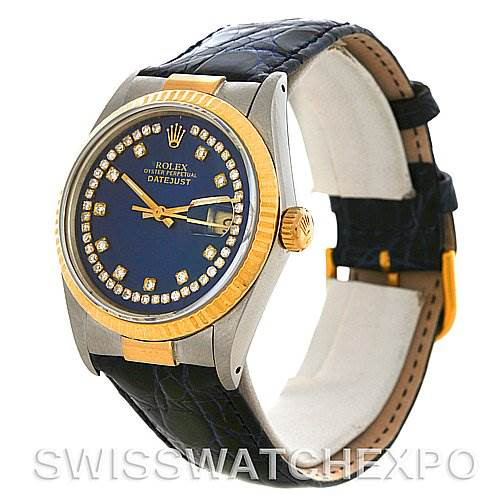 New Style End Links Rolex Datejust Steel & 18K Yellow Gold String Diamond Dial SwissWatchExpo