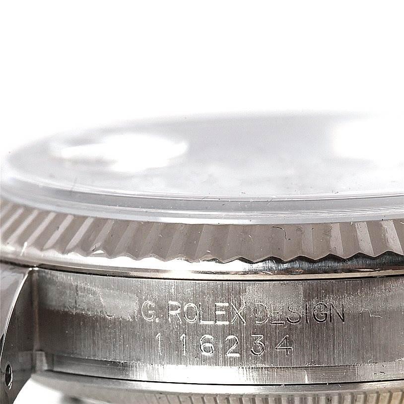 8191 Rolex Datejust Mens Steel 18K White Gold Watch 116234 SwissWatchExpo