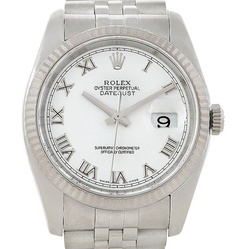 8191 Rolex Datejust Mens Steel 18K White Gold Watch 116234 SwissWatchExpo