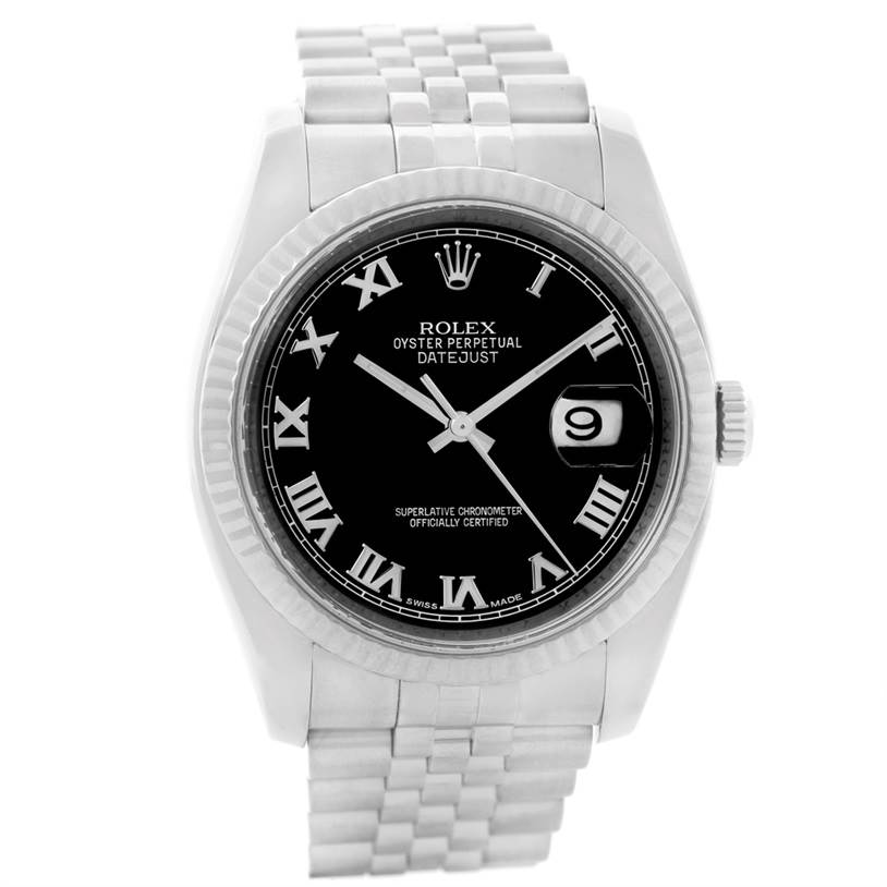 8571 Rolex Datejust Mens Steel 18K White Gold Black Dial Watch 116234 Year 2007 SwissWatchExpo
