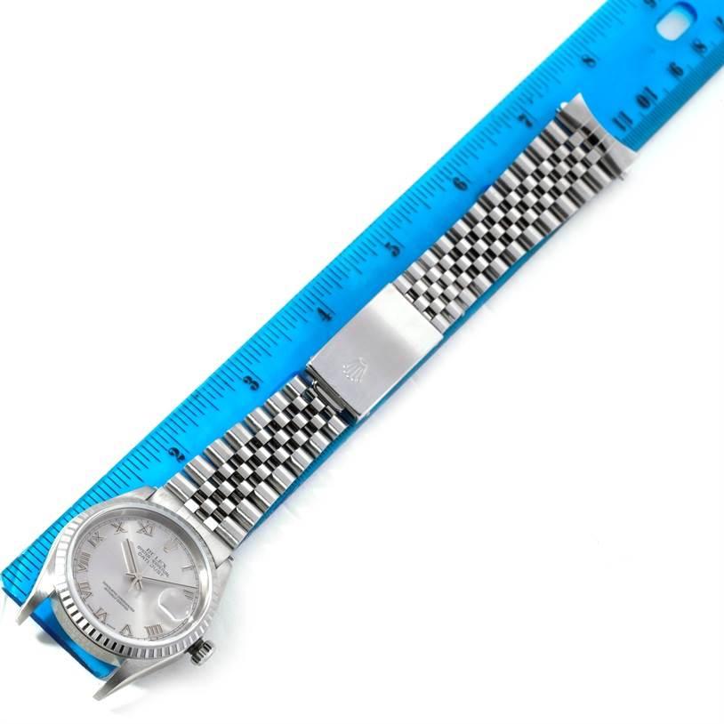 8936 Rolex Datejust Silver Roman Dial Mens Steel Watch 16220 SwissWatchExpo