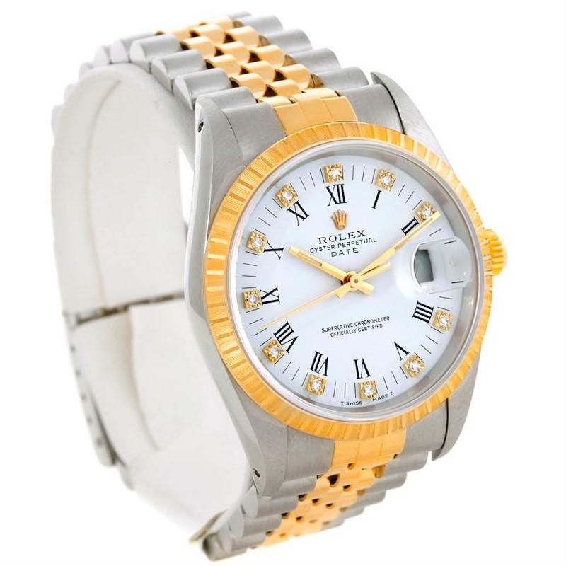 Rolex Date Mens Steel and 18k Yellow Gold Diamond Watch 15223 SwissWatchExpo
