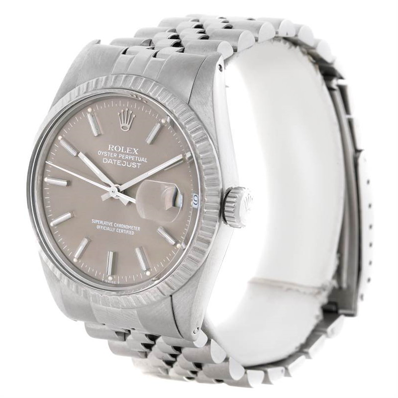 Rolex Datejust Vintage Mens Stainless Steel Grey Dial Watch 16030 SwissWatchExpo