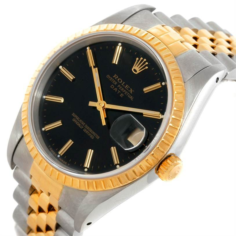 9499 Rolex Datejust Steel 18k Yellow Gold Black Dial Watch 15223 SwissWatchExpo