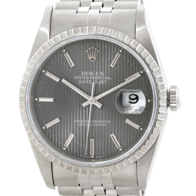 Rolex Datejust Grey Silver Tapestry Dial Steel Mens Watch