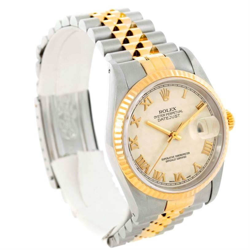 9502 Rolex Datejust Steel 18k Yellow Gold Ivory Pyramid Dial Watch 16233 SwissWatchExpo