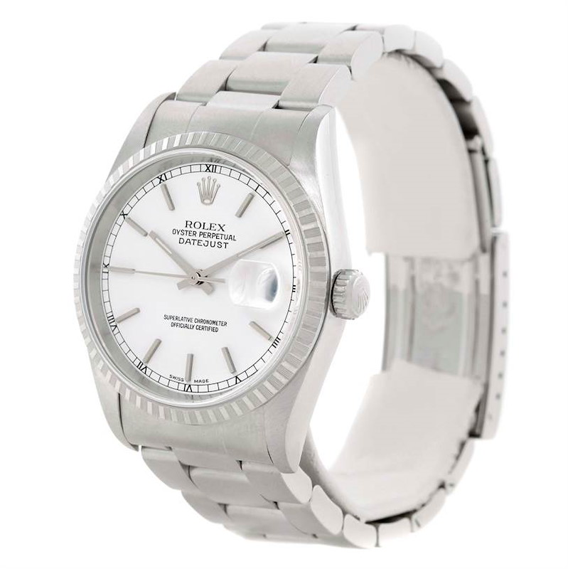 Rolex Datejust White Dial Stainless Steel Mens Watch 16220 SwissWatchExpo