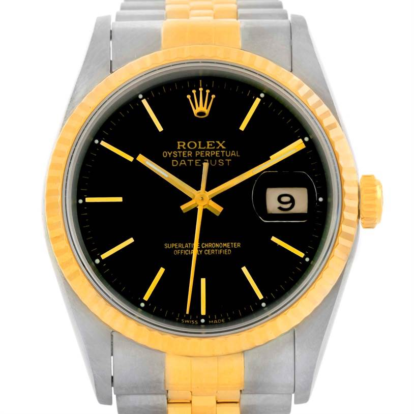 9881 Rolex Datejust Steel 18k Yellow Gold Black Dial Watch 16233 SwissWatchExpo