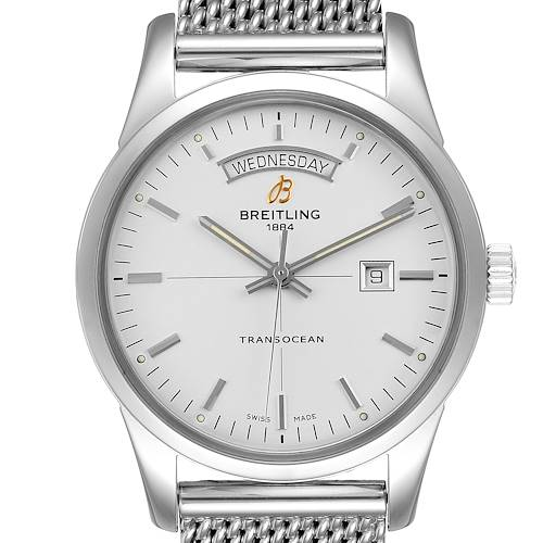 Photo of Breitling Transocean Silver Dial Mesh Bracelet Steel Mens Watch A45310