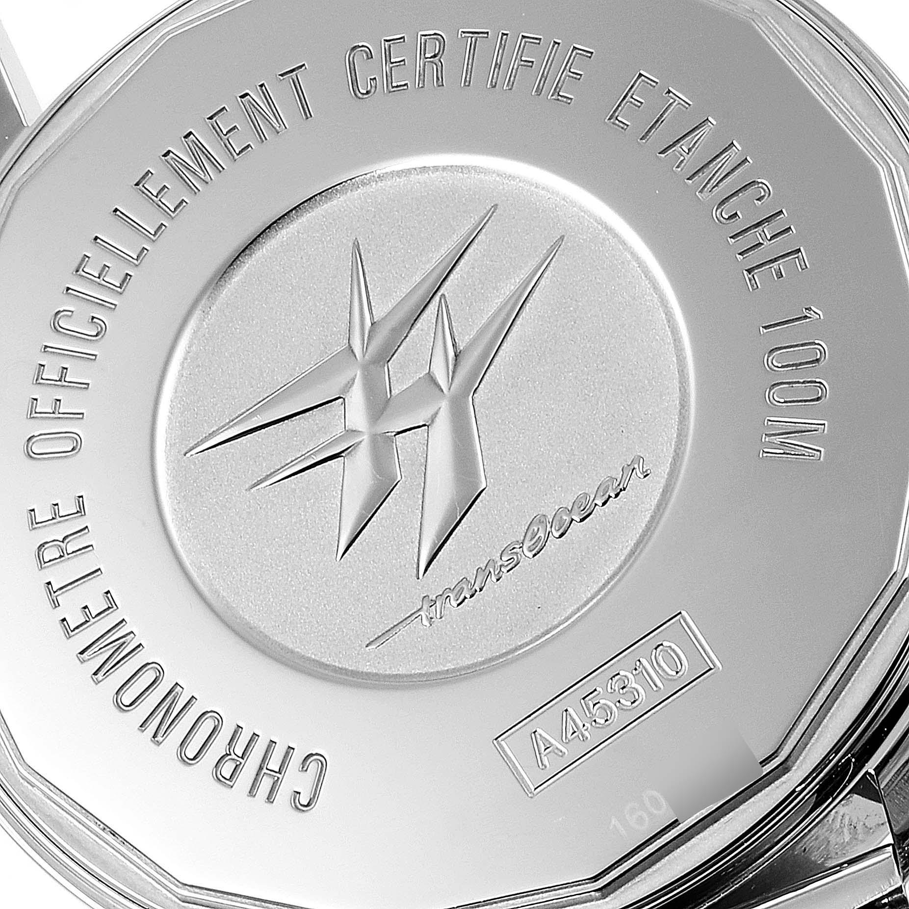 Breitling Transocean Silver Dial Mesh Bracelet Steel Mens Watch A45310 SwissWatchExpo