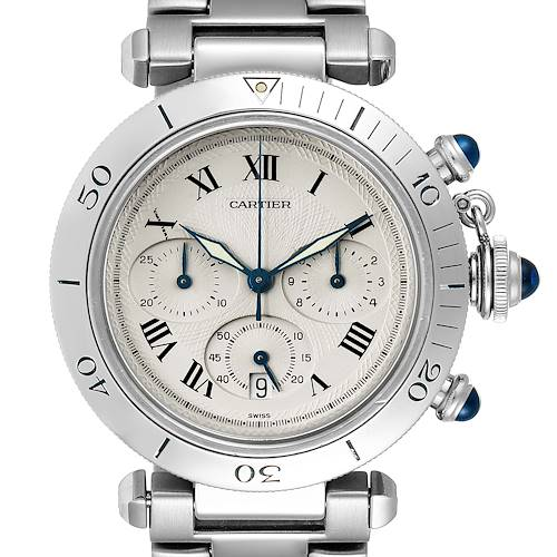 Photo of Cartier Pasha Chronograph Silver Dial Steel Mens Watch W31018H3