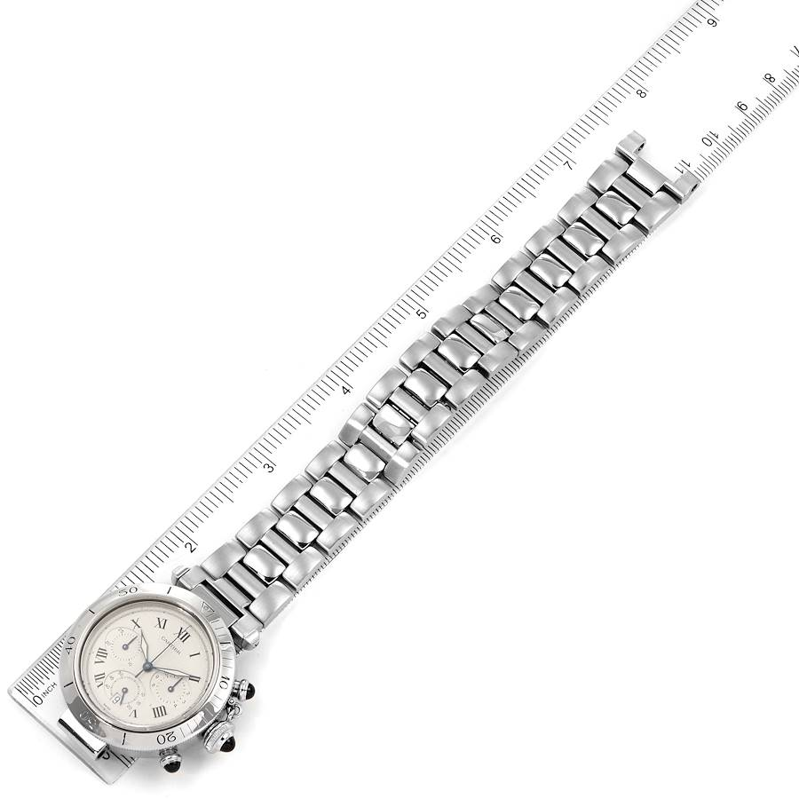 Cartier Pasha Chronograph Silver Dial Steel Mens Watch W31018H3 SwissWatchExpo