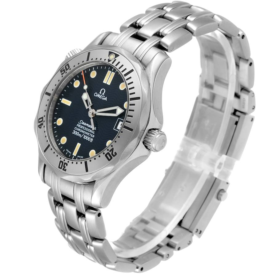 Omega Seamaster Midsize 36 Blue Dial Steel Mens Watch 2552.80.00 SwissWatchExpo