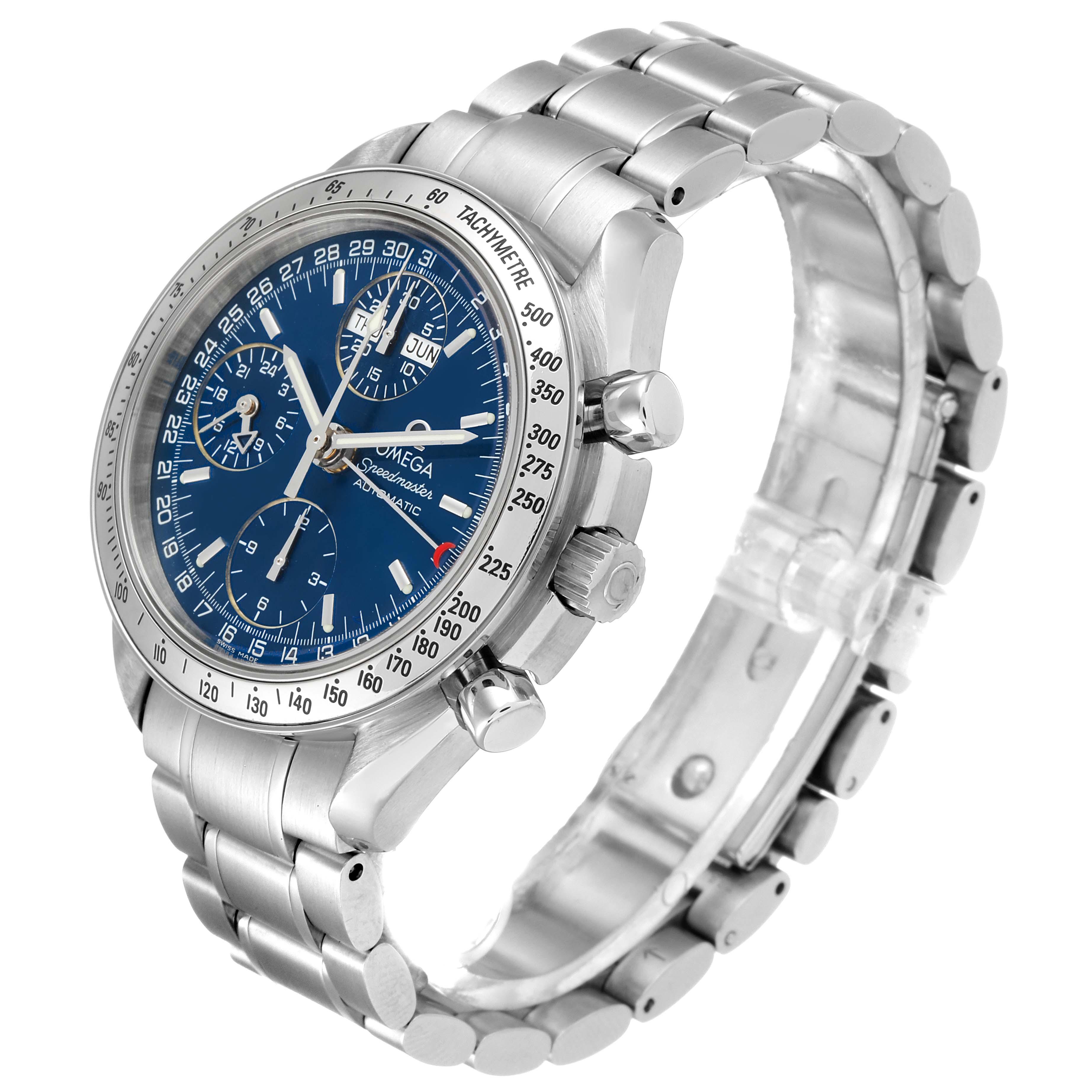 Omega Speedmaster Day-Date Blue Dial Steel Mens Watch 3523.80.00 Card SwissWatchExpo