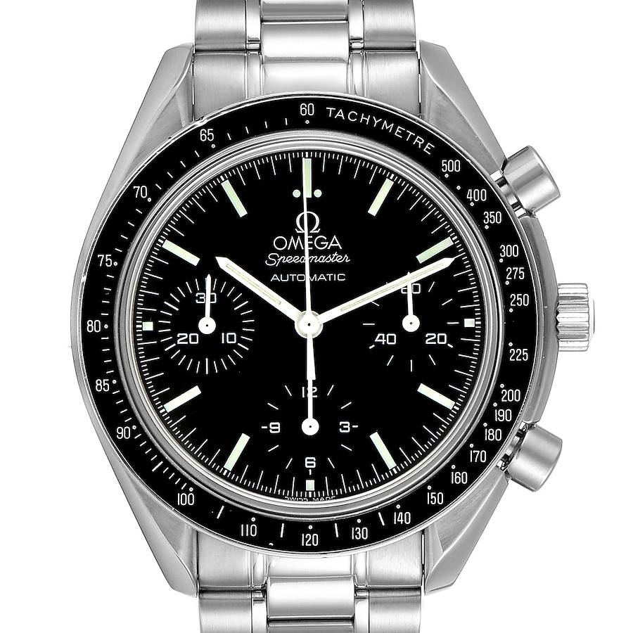 Omega Speedmaster Reduced Chronograph Steel Mens Watch 3539.50.00 Card SwissWatchExpo
