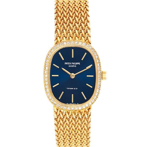 Photo of Patek Philippe Golden Ellipse 18k Yellow Gold Blue Dial Ladies Watch 4498