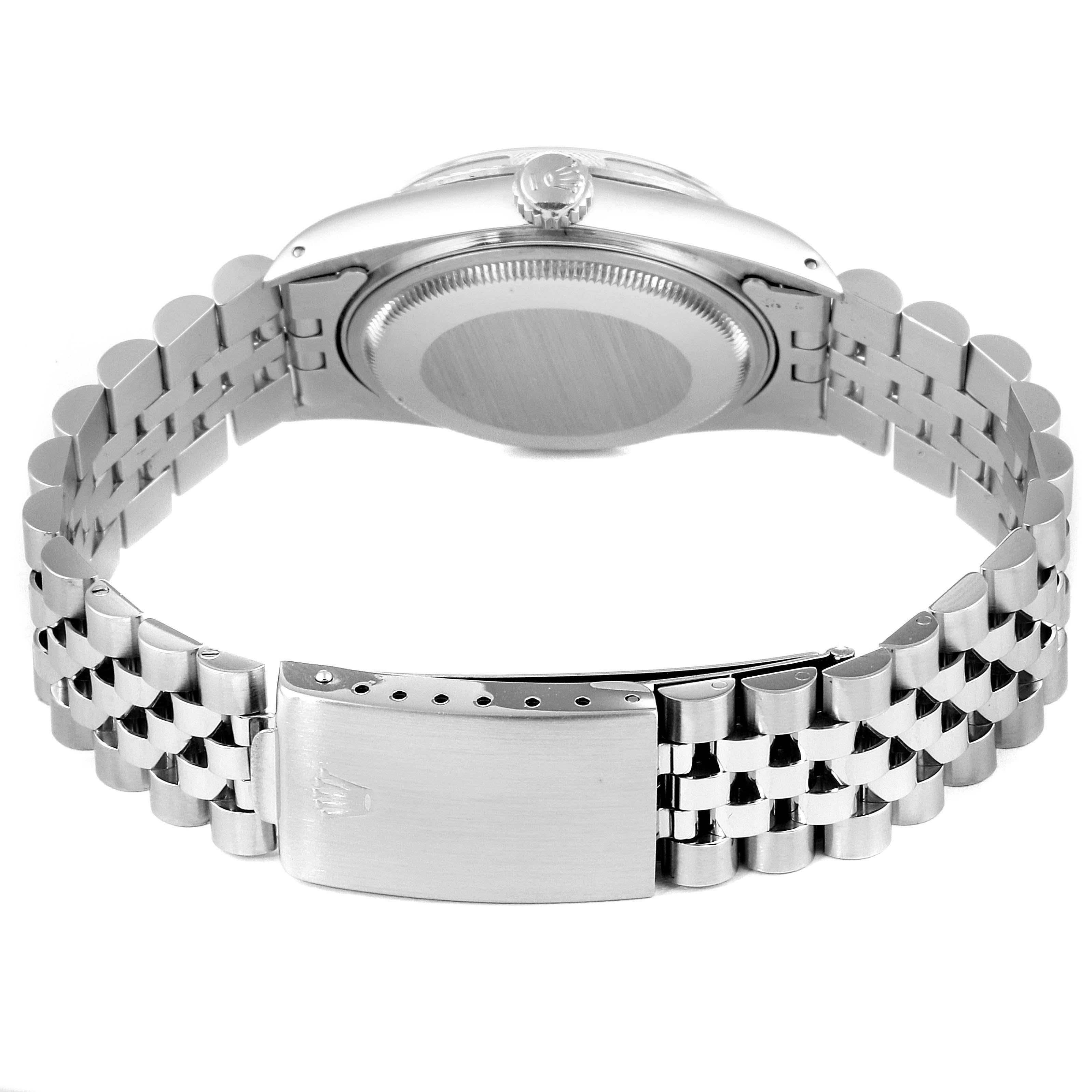 Rolex Datejust Silver Linen Dial Vintage Steel Mens Watch 16030 SwissWatchExpo