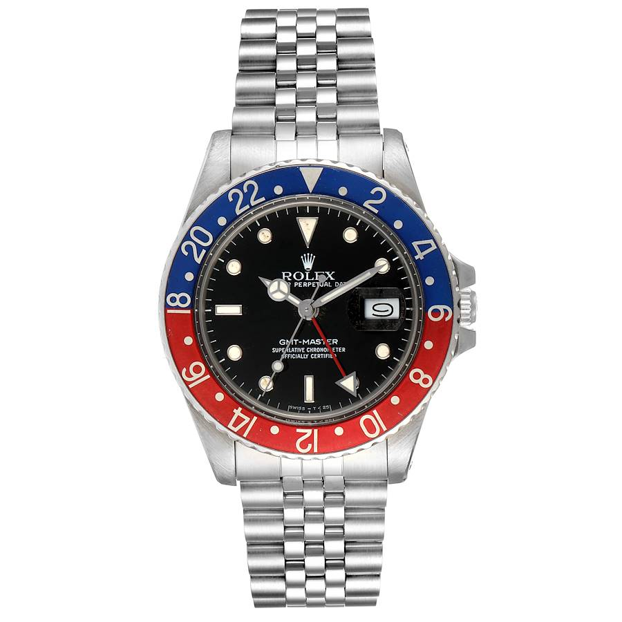 Rolex GMT Master Pepsi Bezel Vintage Steel Mens Watch 16750 SwissWatchExpo