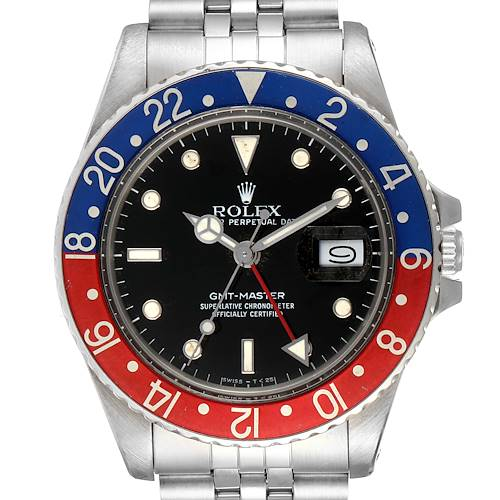 Photo of Rolex GMT Master Pepsi Bezel Vintage Steel Mens Watch 16750