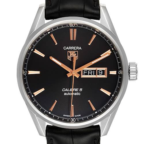 Photo of Tag Heuer Carrera Calibre 5 Day Date Steel Mens Watch WAR201C Box Card