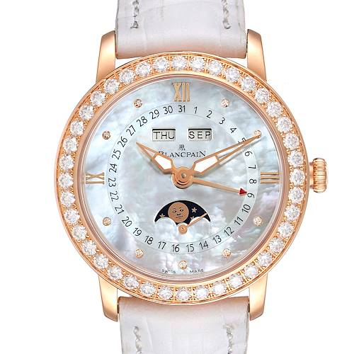 Photo of Blancpain Quantieme Complet 18k Rose Gold Diamond Watch 3663-2954-55B